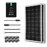 Renogy 200W 12V Solarenergie Solarmodul Solaranlage 100Wx2 Solarpanel mit MPPT 20A Laderegler LCD Anzeige, ein paar Verbindungskabel und ein paar Batteriekabel für RV, Caranvan, Wohnmobil und Camper