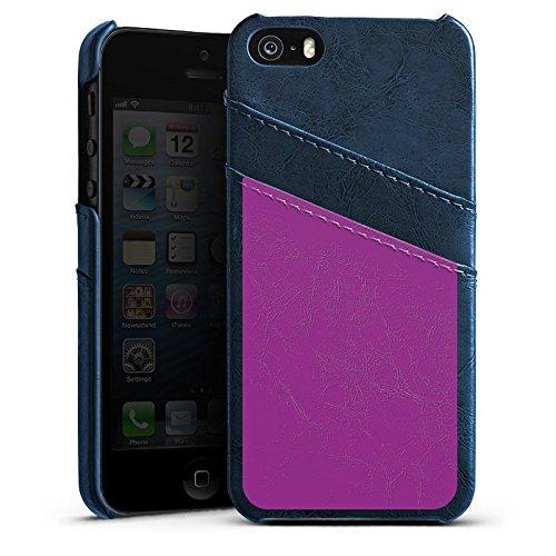 Apple iPhone 5s Housse Étui Protection Coque Violet Lilas Violet Étui en cuir bleu marine