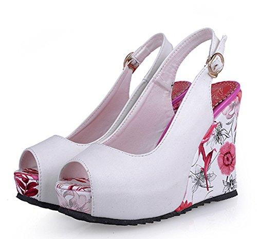 YE Damen Peep Toe High Heels Plateau Wedges Keilabsatz Slingback PU Leder Pumps mit Schnalle Sommer Blumen Sandalen Schuhe Weiß x0yYis