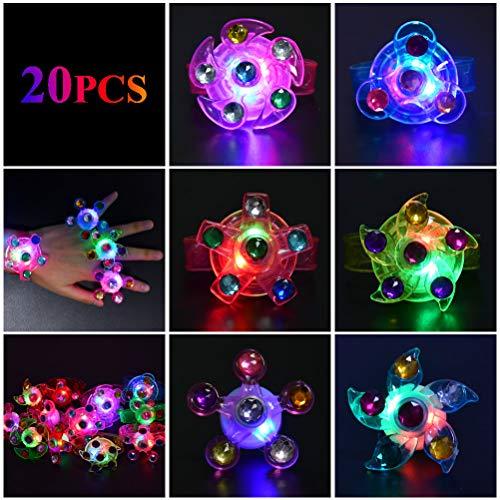Imagen de ofnmy kits de 20pcs favores de fiesta para niños anillos pulseras luminosas con 3 luces ajustables ideal para artículo de cumpleaños, premio para estudiantes,suministro de halloween navidad