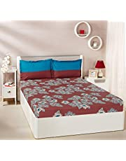 Solimo Floral Flakes 144 TC 100% Cotton Double Bedsheet with 2 Pillow Covers, Red