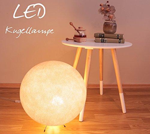 Handgearbeitete Stehlampe aus Baumwolle mit einem Durchmesser von 35cm - creme, Lampe innen