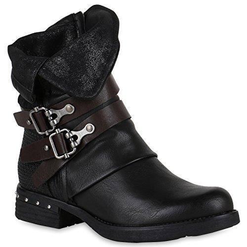 Stiefelparadies Leicht Gefütterte Damen Stiefel Biker Boots Schnallen Stiefeletten Schuhe 147599...
