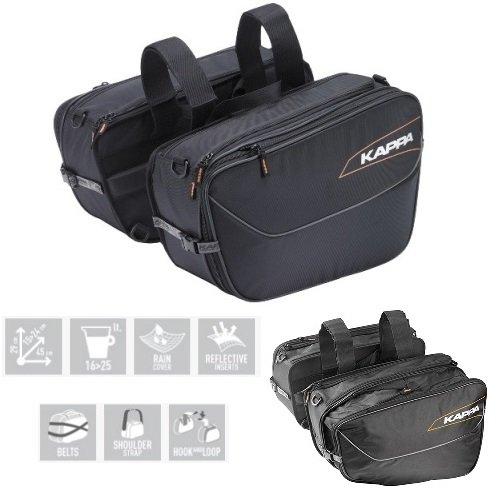 Preisvergleich Produktbild Paar Satteltaschen für Motorrad Scooter Kappa lh202 16 > 25 lt 29 cm x 15 > 24 cm x 45 cm Universal für Aprilia Sportcity 300 Cube 2008 – 2017
