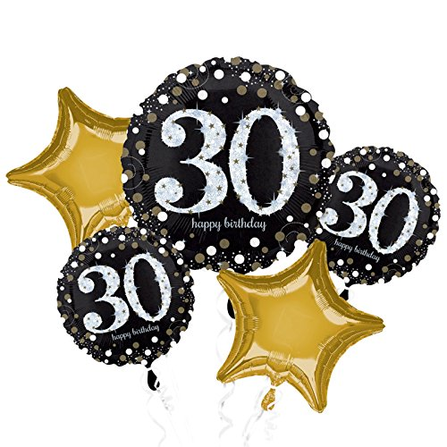Sparkling 30th Birthday Foil Balloon Bouquet