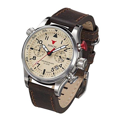 Bison Herren Uhr Armbanduhr Quarz Bison No. 7 BI0007CR Leder