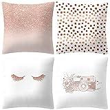 ABsoar Kissenbezuge Weihnachten Kissenhülle Dekokissen Throw Pillow Covers Bettwäsche Für Autos Sofakissen Startseite Dekorative Weihnachten Sofa Bett Home Decor, Rose Gold Pink