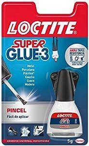Loctite Super Glue-3 Pincel, pegamento transparente con pincel aplicador, adhesivo universal de triple resiste
