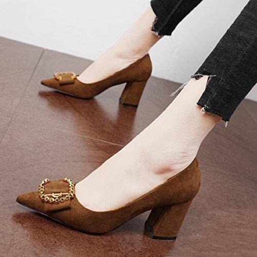 FLYRCX le donne è autunno - inverno i tacchi alti, scamosciato puntata sola scarpa festa scarpa scarpe da lavoro B