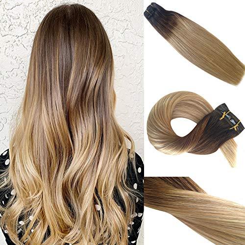 Clip in Haarverlängerung Remy Menschenhaar 8A Brasilianisches Haar 120g 100% Menschenhaar #2T6T27 Ombre Balayage Extension Clip in Extensions 16Zoll/40cm