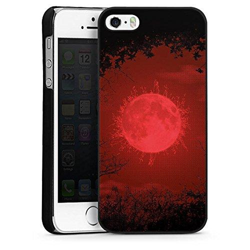 Apple iPhone 5 Housse étui coque protection Lune Lune Pleine lune CasDur noir