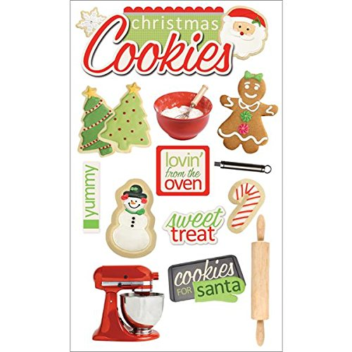 Papier House Productions Weihnachten Cookies 3D Aufkleber, Papier, Mehrfarbig, 22.4 x 12 x 0.5 cm - Rolling Cookie-cutter