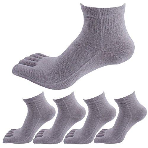 Panegy 5 Paar Unisex Atmungsaktiv Zehensocken für Sports und Freizeit, geeignet für Zehenschuhe, für Damen und Herren, aus Baumwolle(85%) und Spandex - Grau