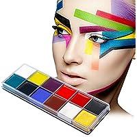 Juego de 12 paquetes de pintura para el cuerpo, para Halloween y Carnaval, paleta de maquillaje, para el cuerpo y la cara, se quita con aceite, muchos colores, para disfraz de niño