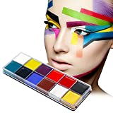 Körpermalfarbe,Körperfarbe Set,Schminkpalette,12 Farben Kinderschminke Set,Face Paint,Bodypainting Schminke, Body und Facepainting,Halloween Karneval Maskenspiel Make Up Schminke Palette