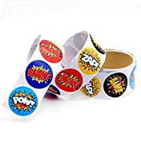 Kicko Superhero Stickers Roll for Kids - Assorted Word Cutouts Sheets - Party Favors, Game Prizes, Novelty Toys, Wall Decals, Creative Scrapbooks, Personalized Arts and Crafts