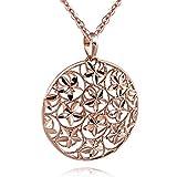 MATERIA Damen Anhänger Rosegold Silber 925 SARA - Gold Kettenanhänger rund für Halskette diamantiert mit Box #KA-341