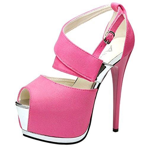 Oasap Women's Peep Toe Platform Stiletto Heels Night Club Sandals Light Rose Red