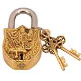 #9: IndianArtVilla Brass Maa Kali Design Security Lock with 2 Keys| Used as Temple Home Hotel Office | Gift Item