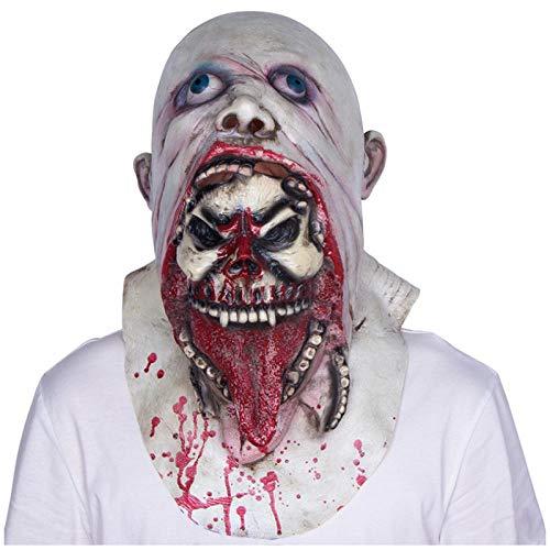 qiaoaoa Scary Blurp Mask Monster Skelett Zombie Kostüm Horror Halloween Latex Erwachsene Vollmaske (Zombie Skelett Kostüm)