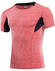 compresión tramo de la ropa de la camiseta muy ajustada de manga corta de los deportes de la camiseta y recorrido de entrenamiento de la aptitud de mecha de los hombres 6013 , red , xxl