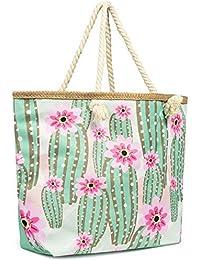 a2ed63890 Cleostyle Bolsa Playa Mujer Bolso Baño con Cremallera Comprador Playa Bolso  del Bolso de Hombro Grande con Motivos XL/79 - Cactus, 59 x…