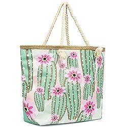 Cleostyle Strandtasche Damen Badetasche mit Reißverschluss Shopper Beach Bag Schultertasche groß mit Motiven XL / 79 (Kaktus)