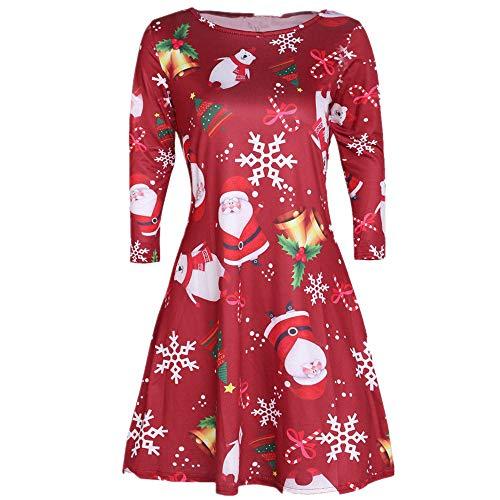 SEWORLD Weihnachten Vintage Retro Christmas Frauen Weihnachten Santa Skater Damen Schneemann Swing ()