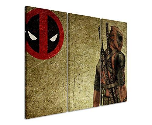 Leinwandbild 3 teilig Deadpool_Wade_Wilson_3x90x40cm (Gesamt 120x90cm) _Ausführung schöner Kunstdruck auf echter Leinwand als Wandbild auf Keilrahmen