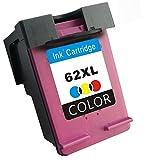 TooTwo 1 Pack 62 XL Cartouches d'encre remplacement pour HP 62XL 62 XL (1 Tricolore) compatibles pour HP Envy 5640 5642 5643 5660 5661