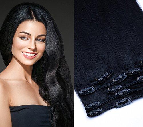 (Clip In Extension Set 7 Teile glatt 55cm Haarverlängerung Haarteil 100% Remy Echthaar Clip in Hair Extension von GlamXtensions in Farbe: 01 Schwarz)
