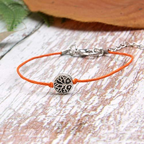 FRLISR Armband,Puka Shell Bettelarmband Fashion Günstige New Summer Handmade Macrame Baumwolle Freundschaft Mädchen Armband Light Orange Wachsenden Baum
