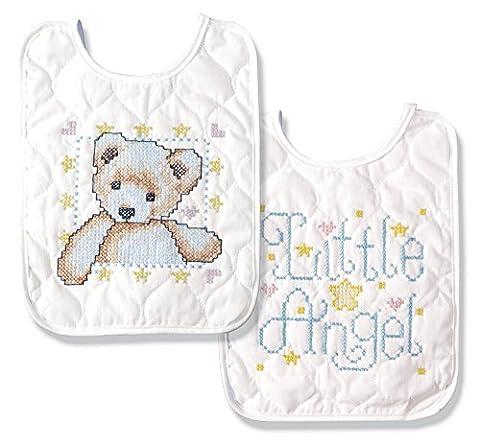 Tobin Angel Bib Pair Stamped Cross Stitch Kit, 8 by 10-Inch, Set of 2