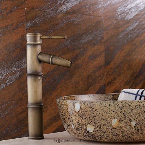 cuivre-antique-bambou-art-lechelle-du-bassin-froide-et-chaude-robinet-mitigeur