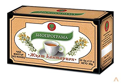 St John's Wort Tea Herbal Tea   Bioprogramme 20 Bags Premium Quality Tea Stress Relief PMS Hormonal Balance Anti Inflammatory Herb 50g