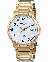 Regent Herren-Armbanduhr XL Analog Quarz Edelstahl beschichtet 11140127