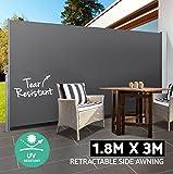 Tenda laterale avvolgibile parasole e frangivento 180x300cm con struttura inossidabile interamente in alluminio - Separè divisore frangivista da giardino per privacy e riservatezza. (Grigio Antracite)