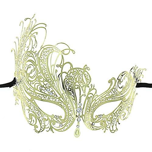 OUREIDOO Maskerade Maske Venezianische Halloween Kostüm Metall Maske für Frauen (Gold with Crystal) (Gold Kostüm Maske)