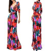 Multy Color V Neck Long Dress Small L51208-3