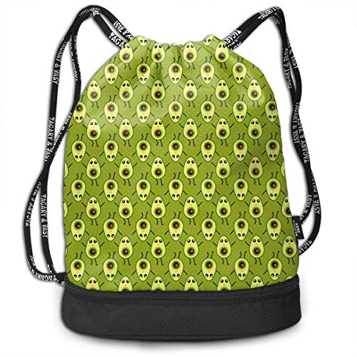 DHNKW Cute Cartoon Avocado Drawstring Bag for Men & Women - Cinch Backpack Sackpack Tote Sack with Wet & Dry Compartments for Travel Hiking Gym -