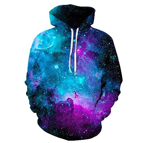 hten Halloween Hoodie 3D Druck Hooded Kapuzenpullover Langarm Casual Sweatshirt für Herren und Damen QYDM135 Sternenhimmel S/M ()