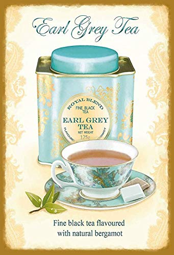 Blechschild 20x30cm Earl Grey Tea Tee Royal Blend Metall Schild Tin Sign Royal Metall