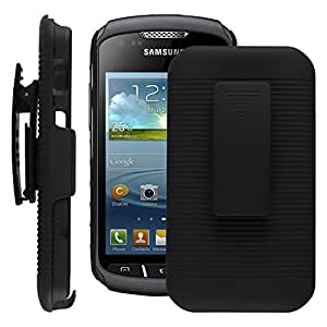 SOJITEK Samsung Galaxy Xcover 3 Black Holster Case 2 in 1 Hybrid Hard Shell Holster Combo With Kickstand & Belt Clip