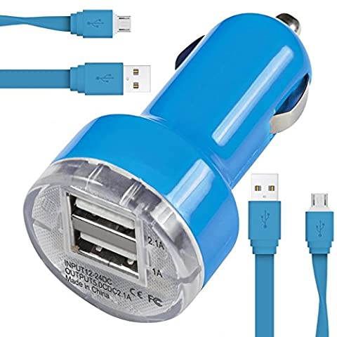 Blu Advance 4.0 L2 Car Charger Chargeur de voiture Compact Rapid Bullet DUAL Petit Fast Travel DC 12V / 24V En Chargeur de voiture Adaptateur USB avec 2 x 1 Mètre Flat Data Sync Charging Cable