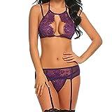 Sexy Dessous Nachtwäsche für Frauen für Sex ouvert mingfa Straps Korsett Lace Floral Push-Up-BH mit Slip Unterwäsche Set M violett