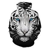 TakushiHF Unisex 3D Druck Galaxie Pullover Kapuzenpullover Langarm Kapuzen Sweatshirt für Sport und Party (Blue Eyed White Tiger, S/M)