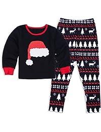 GZQ Pijamas de Navidad con del Diseno del Gorro del Navidad para Familia