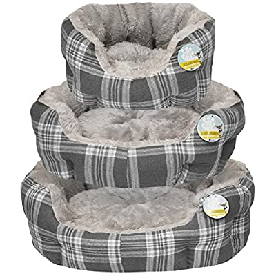 Me & My Plush Padded Grey Check Pet Bed - Choice of Size