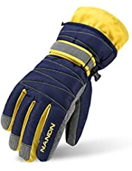 Arcweg guantes de esquí para niños y adultos guantes de invierno forrados de felpa impermeables de ciclismo moto Azul oscuro M (9-14 años)