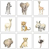 Frechdax® 9er Set Kinderzimmer Poster Baby Bilder 13x13cm | Waldtiere Safari...